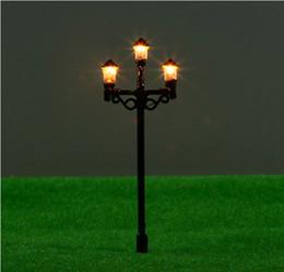 Wholesale 20pcs T50 cm double street lamp lamppost for train layout HO scale HO scale train layout model lamppost lamp