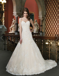 Wholesale Beaded Cored Lace Appliques A Line Wedding Dresses Sequins Sweetheart Bridal Gowns Satin Buttons Dress Chapel Train Gown
