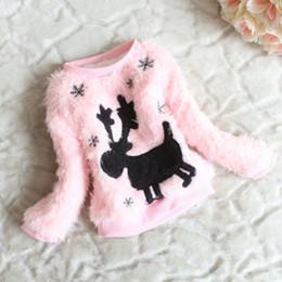 Wholesale Baby Girls Outwear Kids Deer Pattern Coat Sweatshirts Winter Autumn Sweaters