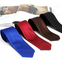 Wholesale S9Q inch CM Mens Fashion Plain Solid Classic Satin Skinny Tie Necktie Neck Tie AAAALV