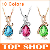 Women's austria shopping - Fashion Womens Pendant Necklaces Angel Tears Colors Austria Alloy Crystal Drill Popular Jewelry DHL FEDEX Free Shopping ZB0008