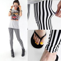 Wholesale S5Q Black And White Vertical Stripes Zebra Skinny Slim Cotton Leggings Tights Pants AAABNP