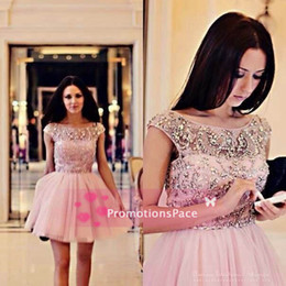 SSJ2015 Ball Gown Cocktail Dresses Sexy A-Line Jewel Beaded Crystals Tulle Summer Short Prom Dresses Cap Sleeves Homecoming Dresses