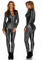 Wholesale 2014 New Sexy Fetish Club Wear Gothic Zipper Snake Kin Print Lame Catsuit Slivery Grey
