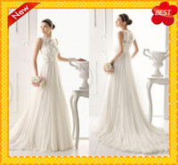 Wholesale Custom Modern Sheer Straps Bateau Lace Flowers Appliques Feathers beads Ruffles Sashes Hot Empire Wedding Dresses Bridal Formal Gowns