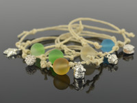 Wholesale Fashion women bracelet color glass azure stone beads silver charms rope bracelet with box