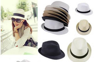 Cheap New Fashion Womens Mens Unisex Fedora Trilby Gangster Cap Summer Beach Sun Straw Panama Hat Couples Label Lovers Hat