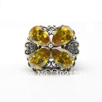 Cheap Real 925 Sterling Silver Pear Citrine Cubic Zirconia Flower Filigree Vintage Design Ring, Free Cutom Logo + Free Shipping