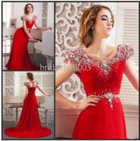 Model Pictures Scoop Chiffon Whole Sale 2014 Han Edition Korean Luxury Beaded Crystal Short Sleeves Scoop Sheath Sweep Train Lace-up Back Prom Dress Formal Dresses HY820