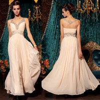 Wholesale 2014 Fascinating Prom Gowns V Neck Thick Straps Sheer Back A Line Ankle Length Chiffon Evening Dresses