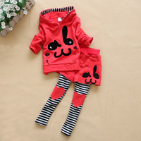 Wholesale New Autumn kids set girls sets spring rabbit suit long sleeve sweat suit Two pieces set set
