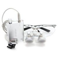 Cheap 2014 CE Dental Surgical Medical Binocular Loupes 3.5X 420mm +LED Head Light Lamp Sliver RDL-097