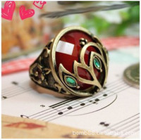 Wholesale K2002 European and American jewelry Pandora ruby diamond ring hollow pattern