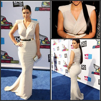 Reference Images Tulle Modern Sexy Celebrity Dresses V Neck Satin Summer Cap Sleeves Kim Kardashian Mermaid Evening Gown with Gold Belt