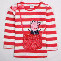 Wholesale F4565 Nova cute baby girl clothes new arrival novelty T shirts cartoon peppa pig costume cotton long sleeve sequin bag autumn girls tops