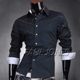 Wholesale PJ Men s Fashion Designer Stylish Slim Fit Cross Line Dress Shirts Casual Tops Size S XL CL4401