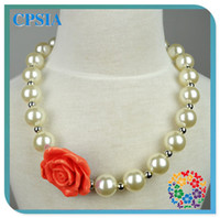 Wholesale New Arrival Fashion Kids Girl Jewelry Flower Necklace Chunky Beaded Baby Pearl Necklace Christmas Gifts
