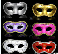 masquerade dresses - Women Men Mask Mardi Gras Party Masquerade Halloween COSPLAY Dress Ball Performance Unisex Colored Drawing Masks Christmas Wedding
