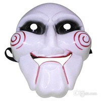 Wholesale Full face Plastic Mask Saw White Horror Mask with Elastic Band g