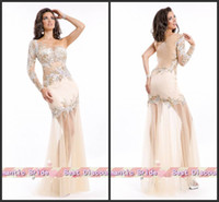 Wholesale Best Selling Extensive Hand Beaded Sheer Long Sleevess Nude Mermaid Party Prom Dresses Evening Gown Party135