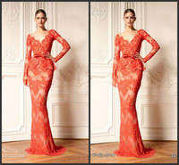 Reference Images V-Neck Lace Wholesale sexy dress 2014 event Zuhair Murad senior fashion lace coral evening dress online