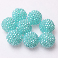 Acrylic, Plastic, Lucite aquamarine beads wholesale - 22mm Brand New Aquamarine Pearl Rhinestones Ball Beads