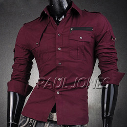 Wholesale PJ Men s Fashion Designer Stylish Slim Fit Military Dress Shirts Casual Tops Size S XLCL4405
