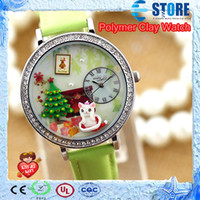 Wholesale Amaizng Polymer Clay Women Watch Fashion Diamond Watch High Grade Christmas Santa Claus Wristwatches with gift box M
