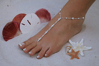 Wholesale Barefoot Sandals stretch anklet chain with toe ring New arrival pair drop ship accept layer glass pearl alll handmade