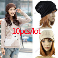 Beanie/Skull Cap mens fashion caps - 10pcs fashion Autumn Winter Knitting Wool Hat for Women mens Caps Unisex Knitted Skullcap Beanie Hats
