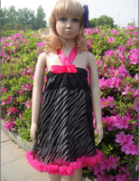 Wholesale Factory Prince Order Baby Clothing Hang Neck Zebra Girls Ball Gown Dress Flower Side Stage Dress Children Princess Dresses QZ286