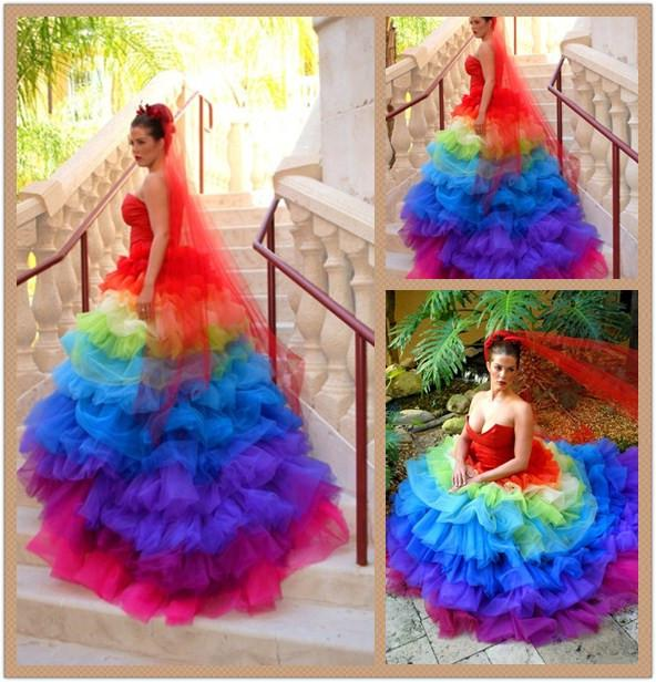 Custom 2016 Queen Victoria Rainbow Wedding Dress Plunging ...