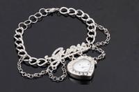 Europe; American batteries love heart - Fashion CZ stones pave letters heart quartz watch pendant DIY chain bracelet silver gold colors love wrap bracelet wrist watch