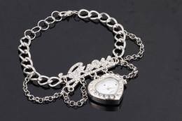 Wholesale Fashion CZ stones pave letters heart quartz watch pendant DIY chain bracelet silver gold colors love wrap bracelet wrist watch