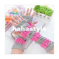 Wholesale Miss Han Ban wild striped knitted wool mixed colors hit the color twist half finger gloves wristband wholesaleHA101