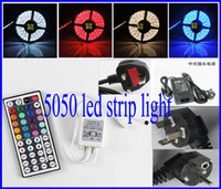 Wholesale 5050 SMD Led Strip Light RGB Leds m Waterproof IP65 V Key IR Remote Controller V A Power Supply With EU AU US UK Plug