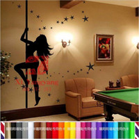 Wholesale Large Size CM Black Sexy Steel Tube Dance Girl Wall Paper Removable Wall Sticker More Colors Option Bedroom Vinyl Decor
