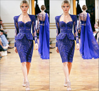 Reference Images Sweetheart Lace 2014 Zuhair Murad Short Evening Gowns Blue Sweetheart Long Sleeve Sheath Knee Length Lace Sexy New Evening Suit Prom Cocktail Party Dresses