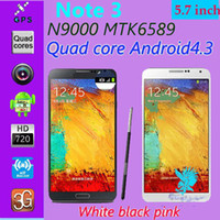 Wholesale 1 Note N9000 MTK6589 Quad core n9000 phones mtk6582 Android Cell phones quot IPS Air Gesture G WCDMA GB ROM
