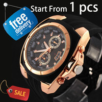 Wholesale New V6 Men s Business Wrist Watch Black Rubber Silicone Band Strap Gold Case Analog Sport Wristwatch Quartz Man Analog Luxury Sale