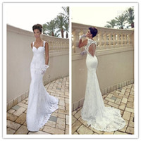Wholesale Galia Lahav Vintage Mermaid Sweetheart Backless White Sheer Lace Wedding Dresses Court Train Bridal Gowns