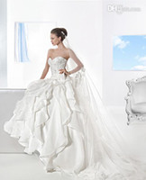 A-Line Model Pictures Strapless 2014 Demetrios A-line strapless sweetheart lace applique ruffles zippered cathedral train Wedding Dresses Bridal Gown custom made full size