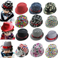 Wholesale 16 Style New Fashion Kids Boys Girls Top Fedora Cap Sun Jazz Hat Blues Jazz Dance