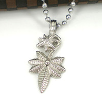 ball castors - Fashion silver L Stainless steel Castor oil leaf pendant necklace with free ball chain