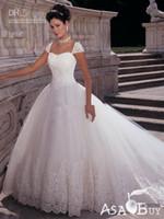 Wholesale 2012 Sexy A Line Wedding Dresses Applique Lace Puffy Vintage Cap Sleeves Chapel Bridal Gown HS0296