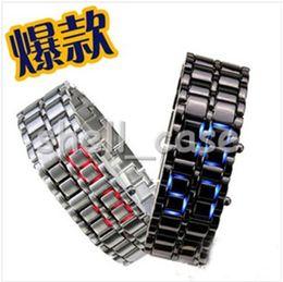 Wholesale Hot Christmas Lava Style Iron Samurai LED Metal Watch Black Silver Digital Male Female Watch Stainless Steel Blue Red Bracelet Watch