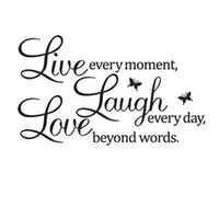 achat en gros de citations des décalcomanies murales amovibles-S5Q DIY Live Laugh Love Quote Vinyl Decal Removable Wall Art Stickers Home Decor AAABPY