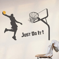 Wholesale Basketball Slam Dunk Removable Wall Stickers Bed Room Decoration Big Size M Black More Colors Option