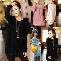 Women jumpers - S5Q Cute Women Lace Hem Knitted Sweater Loose Jumper Crew Neck Pullover Outwear Tops AAACPW