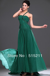 Wholesale Sexy One Shoulder Pleated Strapless Sweetheart Empire Waist Open Back Emerald Green Chiffon Prom Dress Evening Gown Custom Made